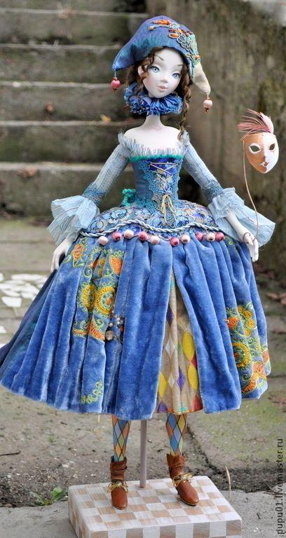 Коллекционные куклы ручной работы: Коломбина в голубом. Handmade.