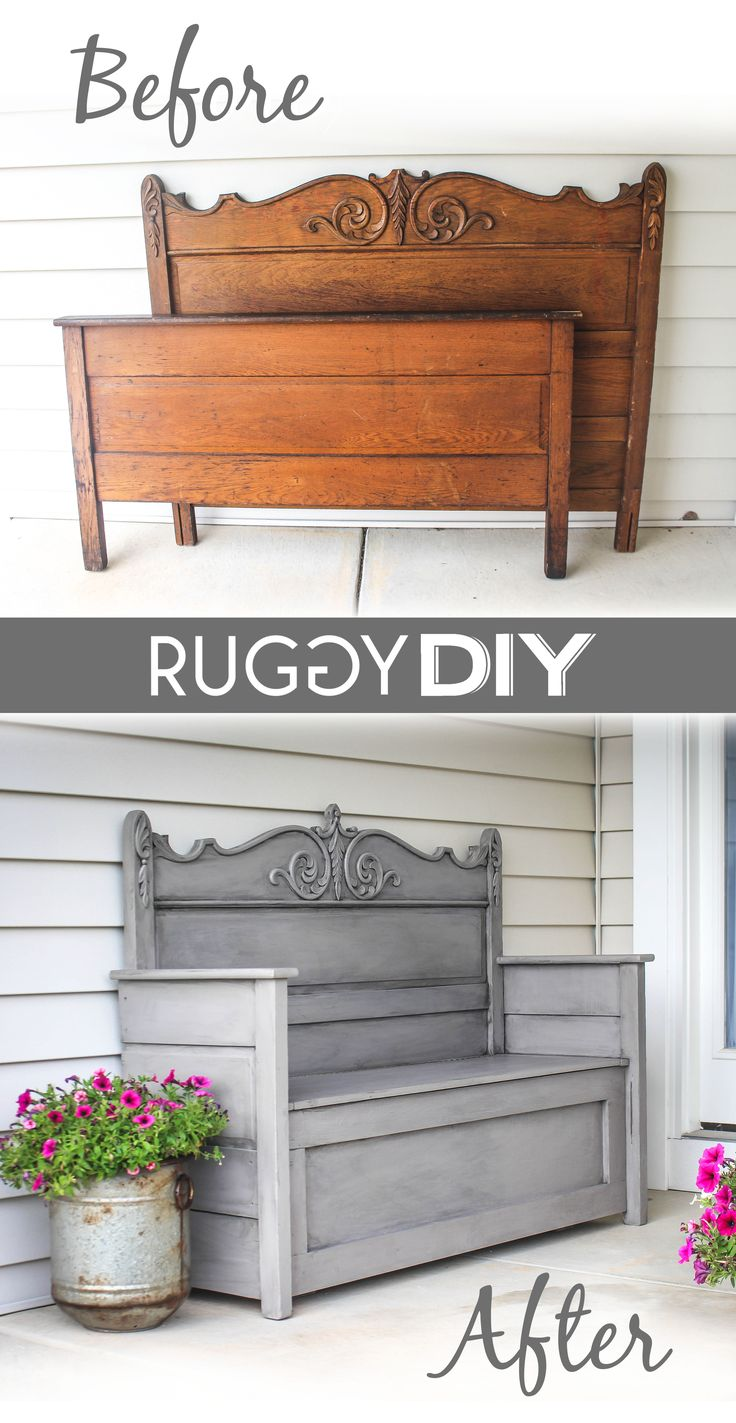 Repurposed Vintage Oak Bed - a salvaged head and footboard were used to create an amazing bench with storage - via Ruggy DIY