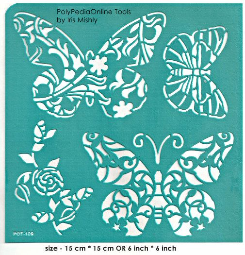 Stencil Stencils Pattern Template Butterfly 6 by irismishly (Craft Supplies & Tools, Scrapbooking Supplies, Embellishments & Die Cuts, silk screen, self adhesive, stencils projects, collage supplies, scrapbook supplies, paper crafts, stencil paper, adhesive vinyl, stencils, soft stencils, stencil, pattern, template)