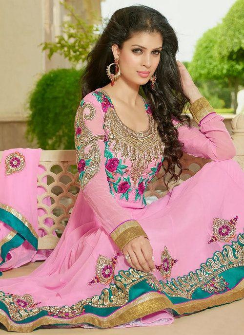 Light Pink Party Wear Anarkali Churidar Suit