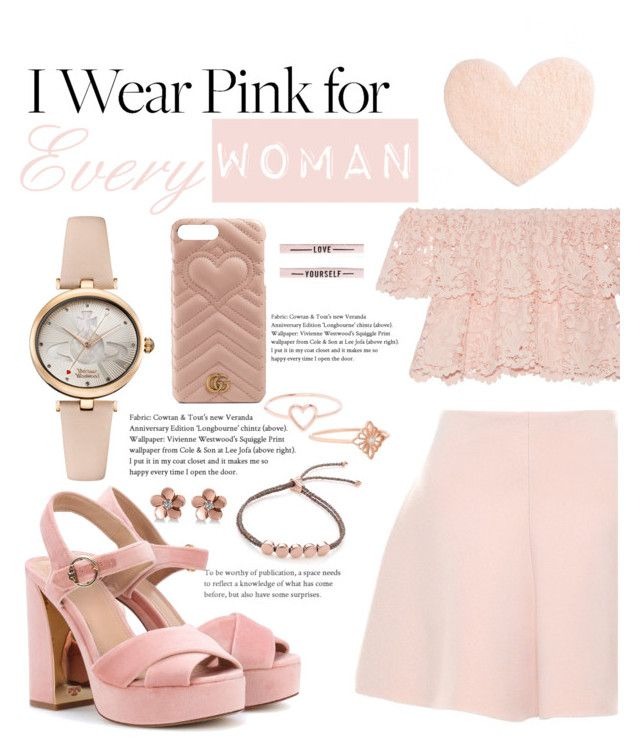 """I wear Pink for Every Woman ♡"" by yiah ❤ liked on Polyvore featuring Tory Burch, Vivienne Westwood, Gucci, Miguelina, RED Valentino, Monica Vinader, Love Is, Allurez, Stone Paris and New Look"