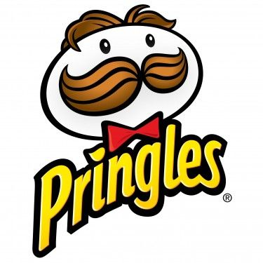 Pringles-So lets see, white potato head with eyes (old potato) and brown hair and mustache for the skin. Little bow tie from the old time proper men must of worn. Yellow from fried golden yellow with a little heart of goodness for the i.
