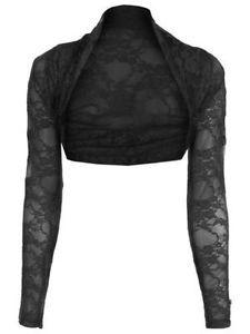 Women-Ladies-Long-Sleeve-Lace-Shrug-Top-Ladies-Crop-Bolero-Lace-Top-SM-ML