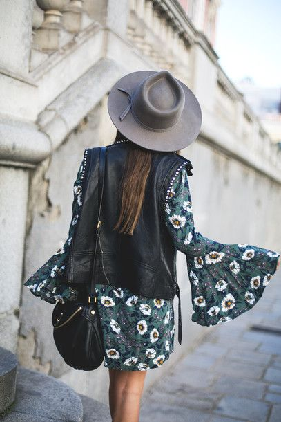 Dress: mypeeptoes blogger jacket shoes hat bag boho boho bell sleeve tumblr mini floral floral green
