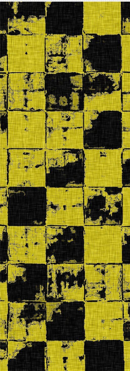 Grunge tiles themed yellow yoga mat, squares pattern worn out look, black and sunshine colors facture, 90s style meditation accessory - item printed at www.rageon.com/a/use... #canvas #art #print #erotic #sensual