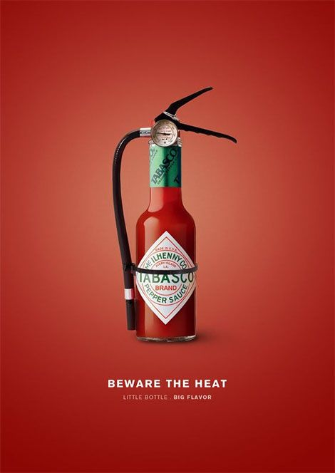 The Tabasco sauce designed to look like a fire extinguisher to showcase how hot the sauce is.