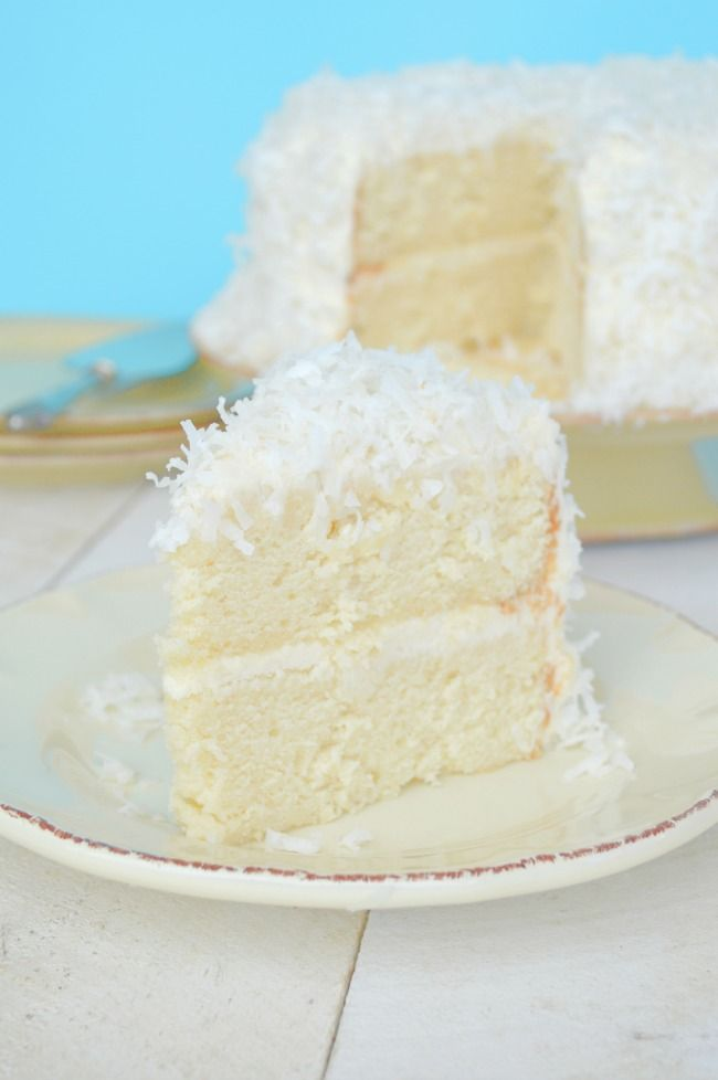 Coconut Cake with Coconut Cream Cheese Frosting......light, moist, melt-in-your-mouth flavour!