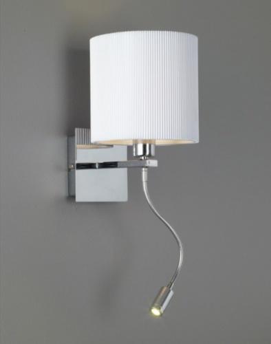 Lill vegglampe 1x40W E14 - + power led 1W Vegglampe med hvit skjerm ...