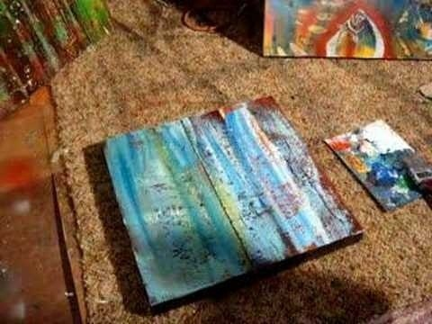 Watch this instructional painting video to create a water like effect on the surface of canvas, wood or paper. Use acrylic paint and a spray bottle with some paint thinner. Spray the turpentine onto wet paint and watch the paint separate into shapes that look like the surface of water, splashes and wave patterns.