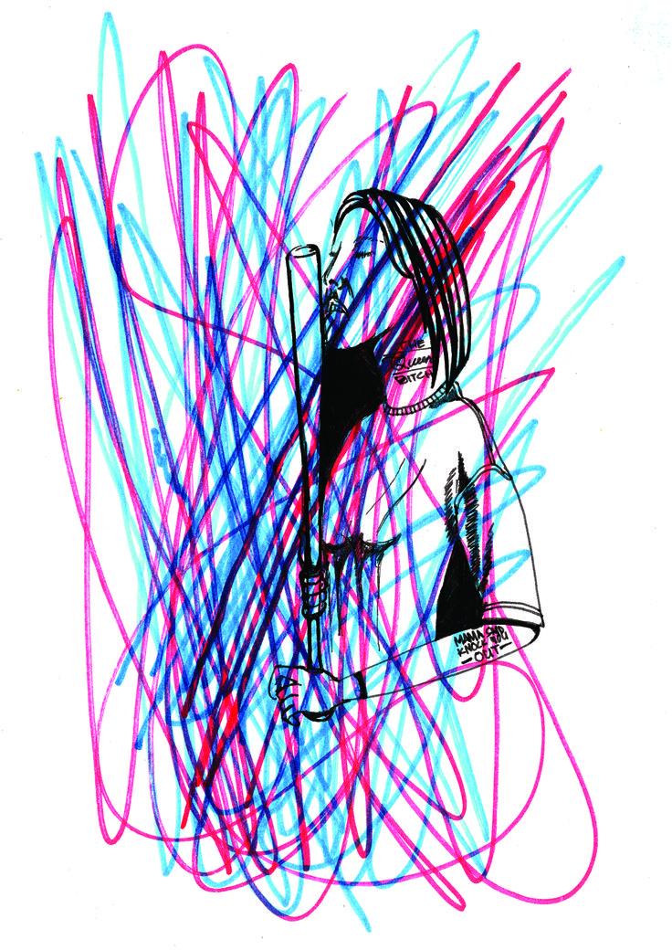 Reuben Kieswetter 2014 wrong colours but i like it that way. #illustration #wrong #cmyk #rgb #art #quickwork #intranset #whilstimbored