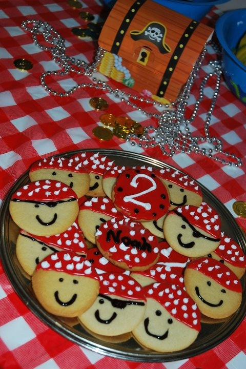 #pirate cookies Pirate cookies I made for my son's birthday party!