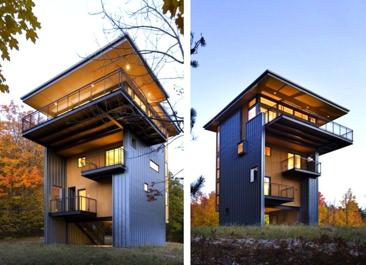 Balance Associates designed this gorgeous metal-clad Tower House that overlooks Glen Lake in Michigan
