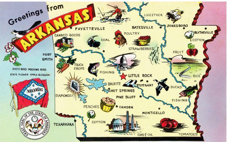 greetings from arkansas state map postcard paper ephemera vintage postcards