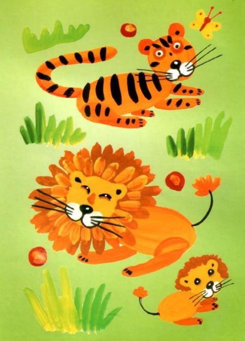 Zvířata Afriky - poučit barvy pro děti - na stránce zobrazen postup