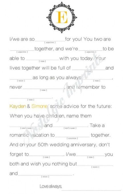 Wedding Games For Bride And Groom Activities Mad Libs 30