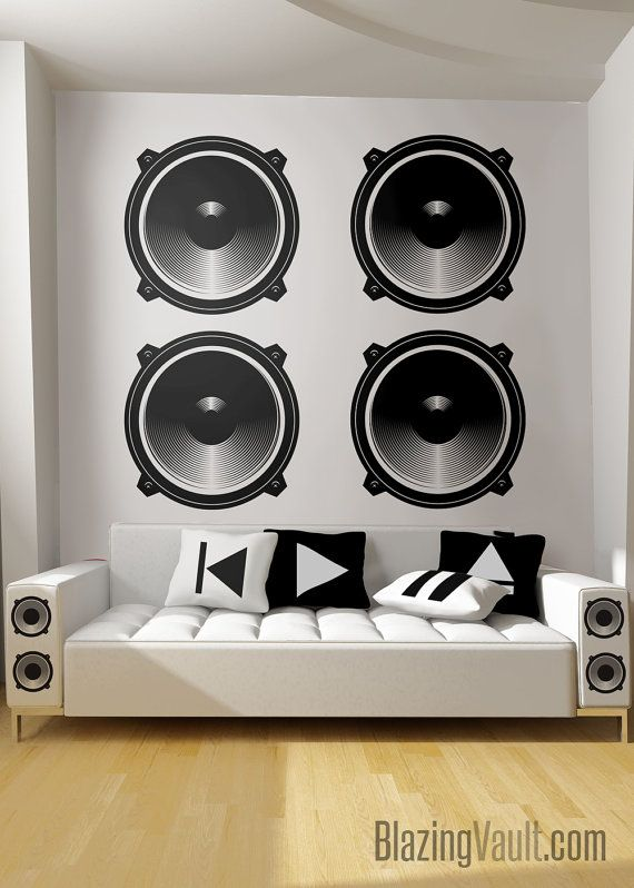 Audio Speaker Wall Decal Music Studio Wall Rock HipHop DJ Dance Party Band Guitar Amp Blues Punk Rap Country R&B Classical by BlazingVault