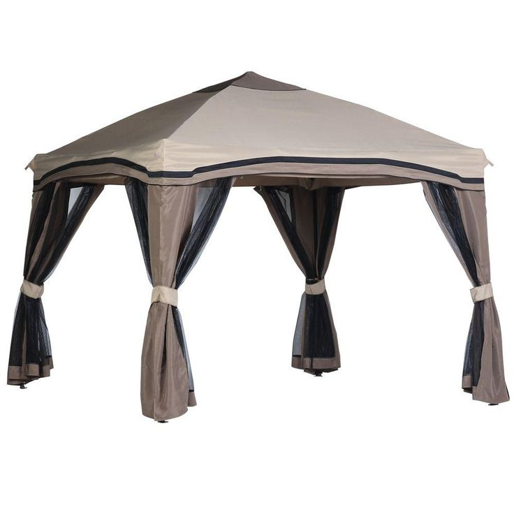Hampton Bay Pitched 10 ft. x 10 ft. Roof Line Portable Gazebo with Netting