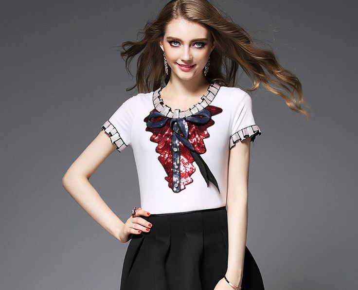 2016 Summer Women's New Style Bow Embroidery Sequins Short Sleeved White T- shirt + Black Bubble Skirt Woman Skirt Suits