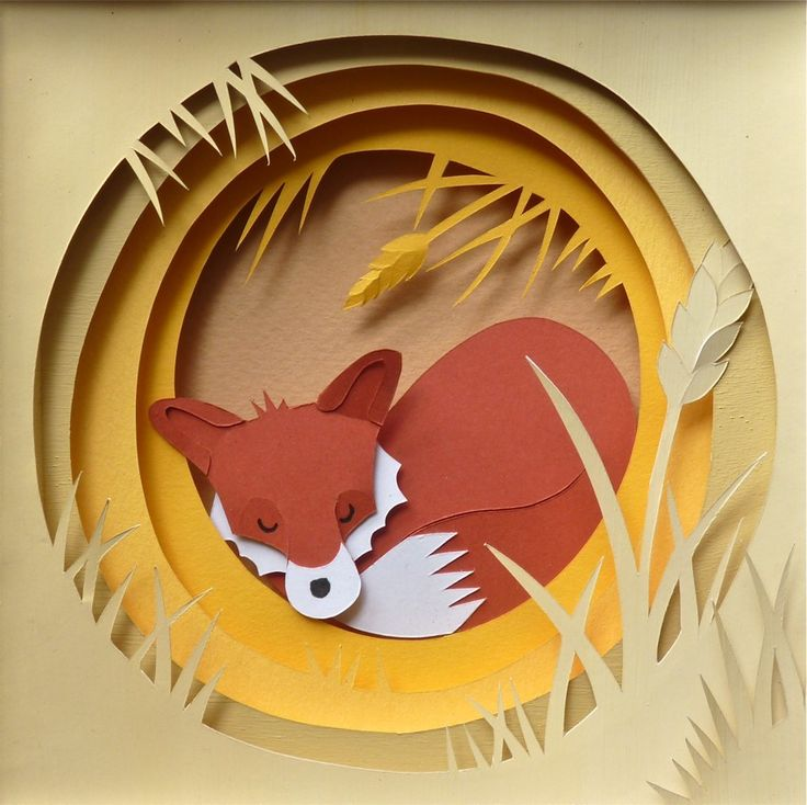 Sleeping in the Rick-While this is a very simple paper sculpture, one could press  more shape onto the flat pieces of the fox, giving it a better 3d effect. The grasses could all be worked in a similar fashion, as well. Whether flat, or shaped, it all depends on how much time you want to spend on it.