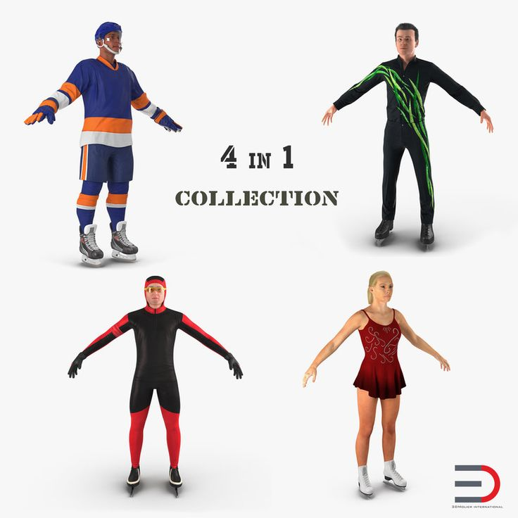 3D Winter Sport Characters Collection model