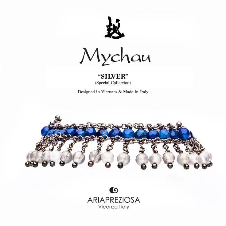 Mychau Silver - Bracciale realizzato in Argento 925‰ (galvanica chocolate) e pietre naturali Agata Blu ed Agata Ghiaccio