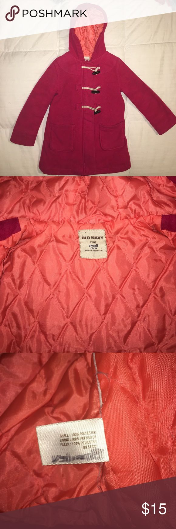 Old Navy Coat Used but in good condition. Minor piling & light dirt stains that are hard to see. Name is scratched out on the inner tag. Size is 6/7 but feel this runs small.. more like a 5/6. Old Navy Jackets & Coats Pea Coats