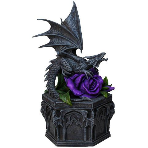 Anne Stokes Box - Dragon Beauty Trinket Box. This is a Beautiful and Unusual Jewellery/Trinket Box has a Dragon and purple rose Decoration. Perfect for a Gothic Gift or Gothic Home Decoration. 25cm Tall approx 14 cm Wide. Anne Stokes is one if not the premiere UK Fantasy and Gothic Fantasy female Artists. FROM ANGEL CLOTHING
