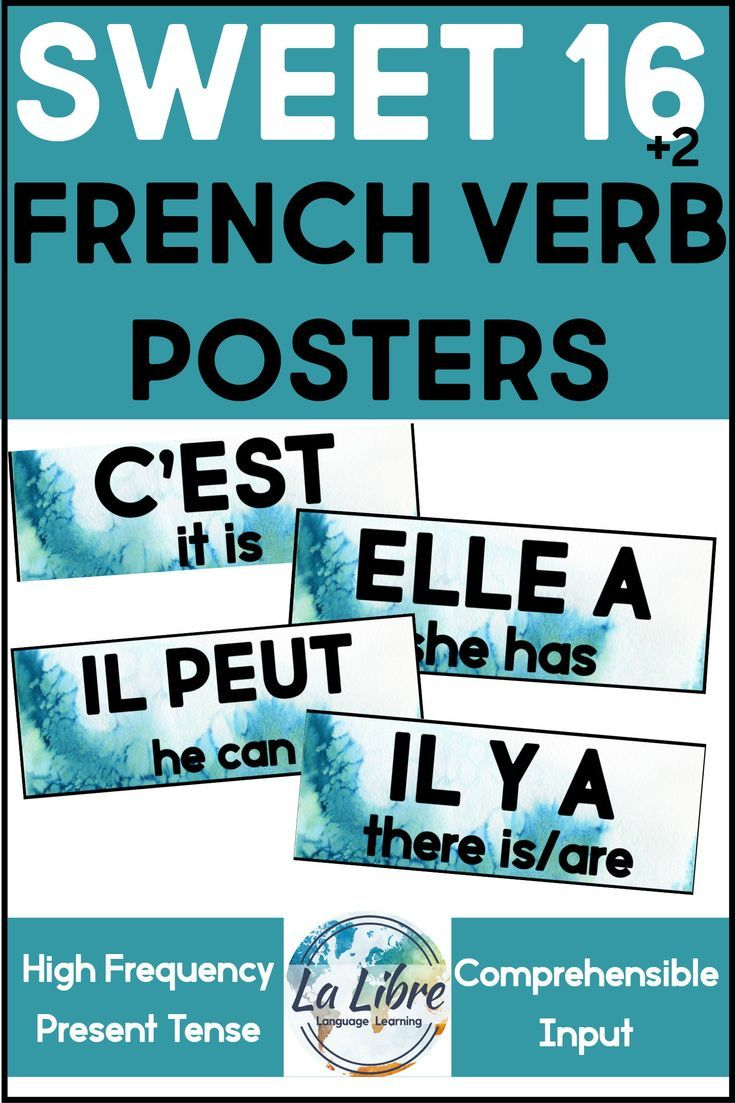 Sweet 16 French Word Wall High Frequency Blue Posters Classroom