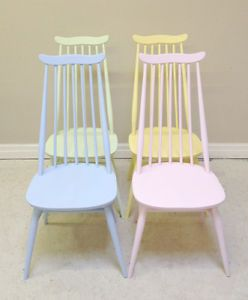 Wonderful-Set-of-4-Vintage-Ercol-Painted-Dining-Chairs