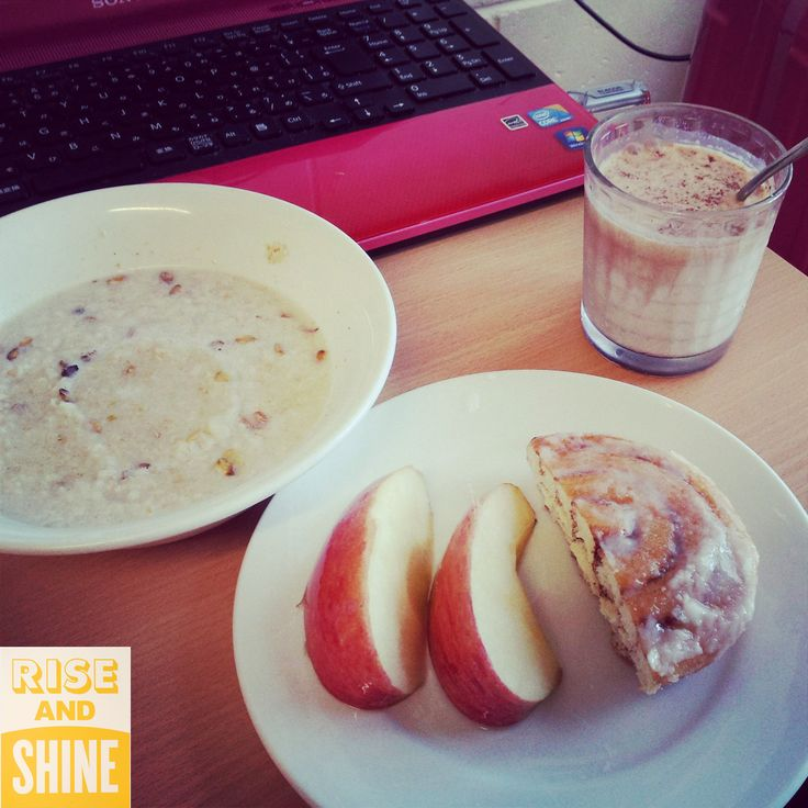 Oatmeal, apple, cinnamon role and soy milk with cocoa by Iori Sugitani