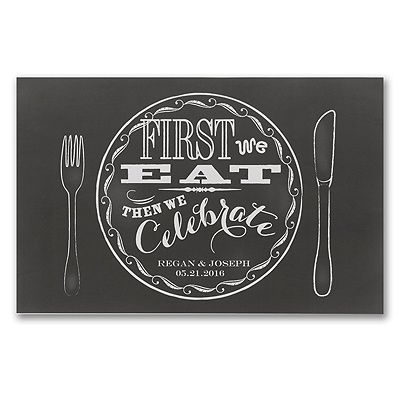 Set your wedding reception tables in vintage style with black and white chalkboard-design paper place mats. Retro lettering and your personalization make them fun. #vintage , # placemat www.poshweddinginvitations.com