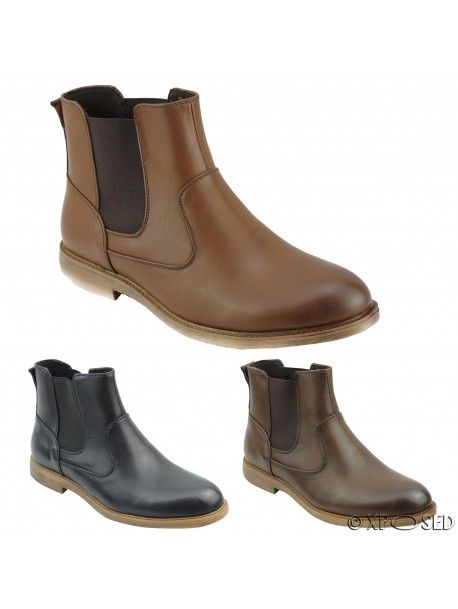 Mens Faux Leather Chelsea Boots Italian Style Smart Casual Dealer Ankle Shoes