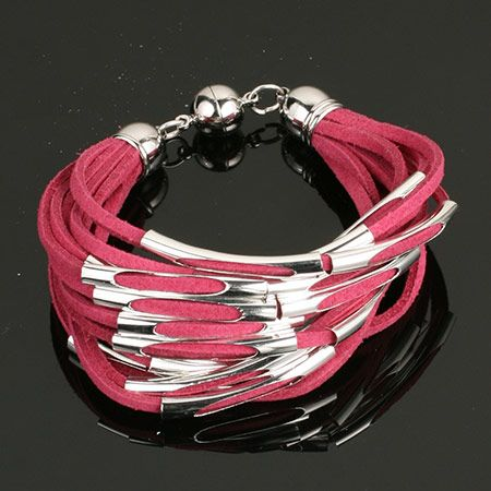 Berry Suede Leather with Silver Braclet. www.shazbamdecor.com
