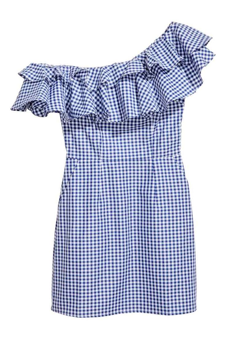 Σύντομη flounced φόρεμα - Μπλε / Λευκό / ελεγμένο - Κυρίες |  H & M GB 1