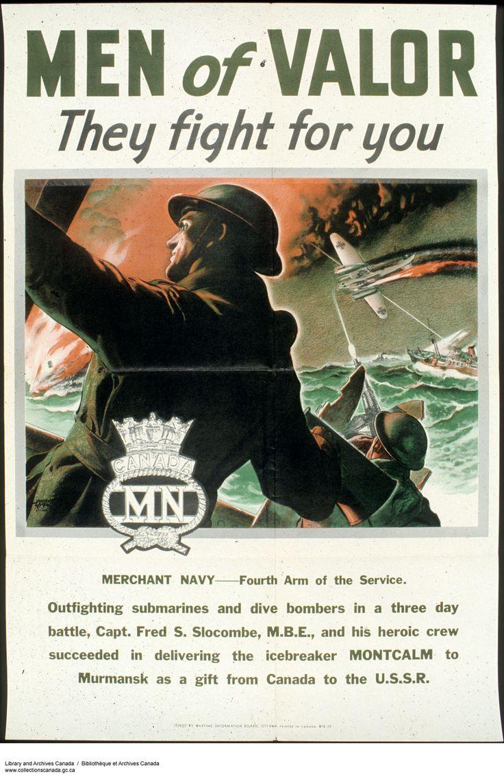 Отважные люди - они сражаются за тебя! Плакат рассказывает о подвиге экипажа канадского ледокола для которого путь в Мурманск с подарками для СССР от Канады оказался битвой, продолжавшейся три дня. Плакат призывает идти служить в торговый флот.