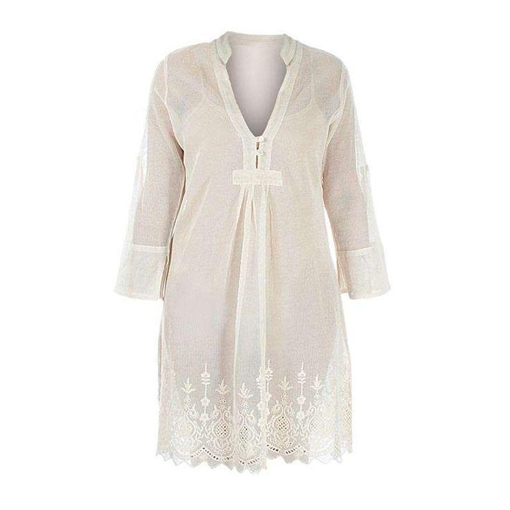 NET DRESS IN BEIGE COLOR W/LACE LARGE (100% COTTON) - Skirts-Dresses - Clothes