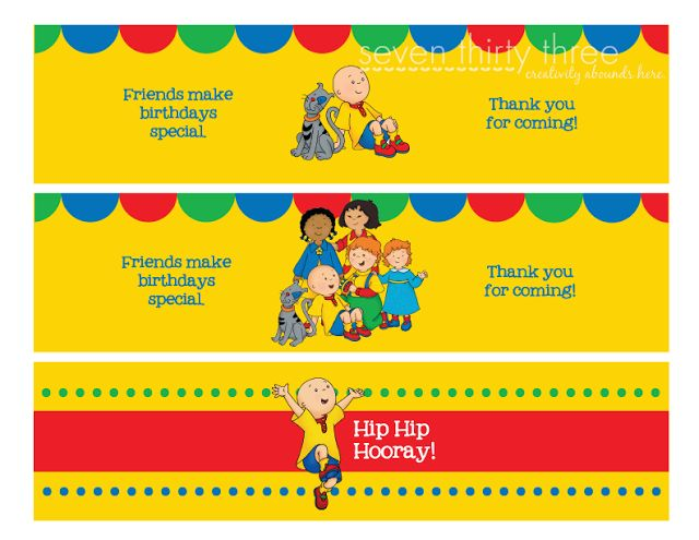 Caillou Birthday Party Printables - seven thirty three