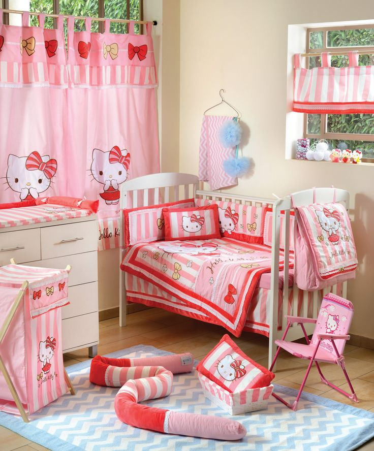 Hello Kitty Striped 4 Pc Crib Bedding