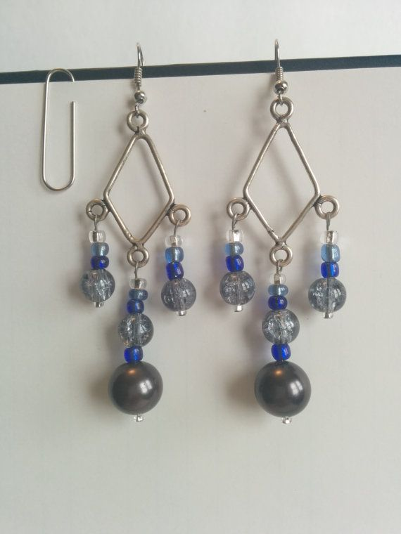 Beaded Chandelier earrings in Silver tone, $20
