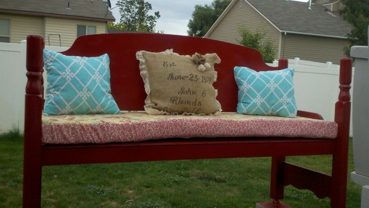 Bench that I made for my in- laws 40 th wedding anniversary, (the bed frame was my mother- in-laws bed frame when she was 16)