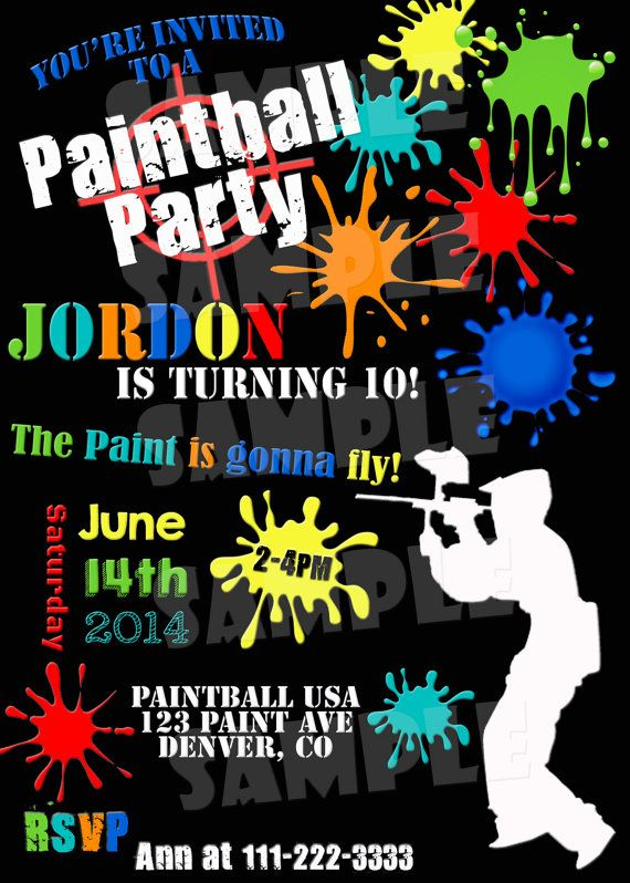 Printable PAINTBALL PARTY INVITATION by ShinySparklyParties  Paintball Birthday Invitation