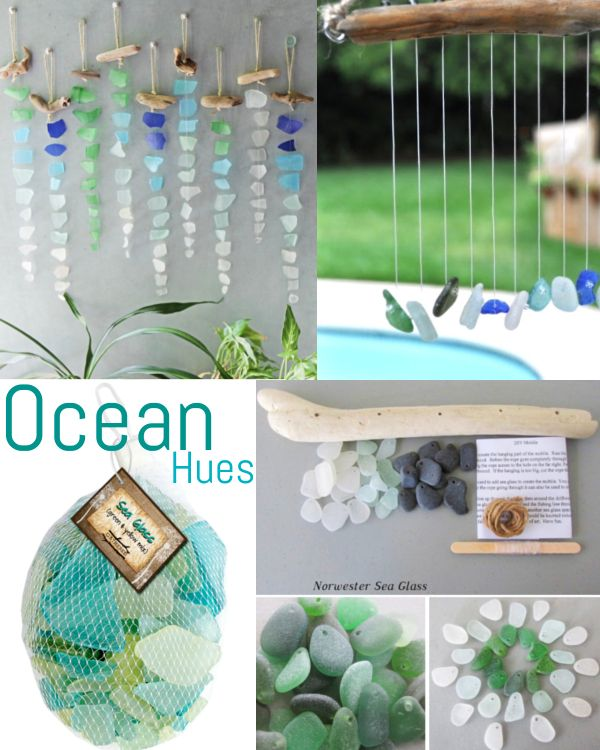 Ocean Hues With Seaglass Chimes And Sun Catchers Shop Or Diy Seaglass Decor Ideas Featured On Completey Coastal I Sea Glass Decor Sea Glass Sea Glass Crafts