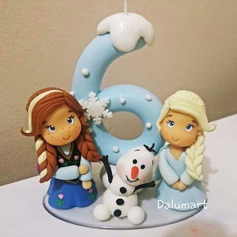 Elsa Anna and Olaf candle cake topper