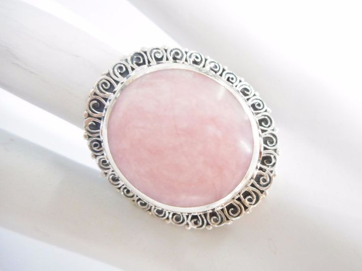 Ornate Genuine Sterling Silver Oval Pink Stone Statement Ring Sz 7.75 #3143 #Statement