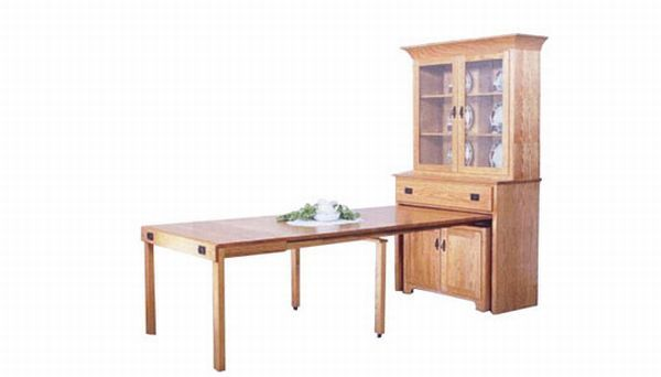 Mission hutch with pull out table small space big style for Small pull out desk
