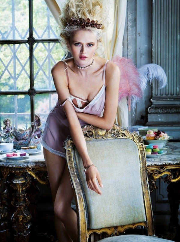 """Petit Trianon"": Anna Ilnytska as Marie Antoinette in Lingerie by Pascal Chevallier for Vanity Fair Italia"