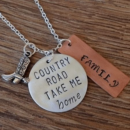 Country Road Take Me Home Hand Stamped Necklace by Charmed Elements Jewelry