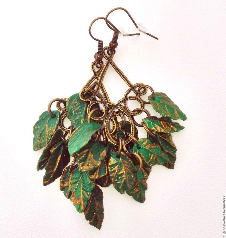 Купить Серьги Лесная фея из полимерной глины зеленые бронзовые - зеленый, тёмно-зелёный, серьги