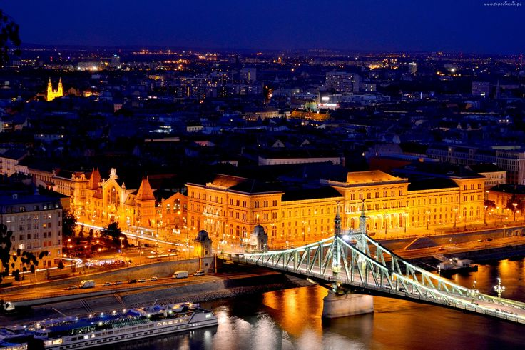 Budapeszt, Most, Noc, Dunaj