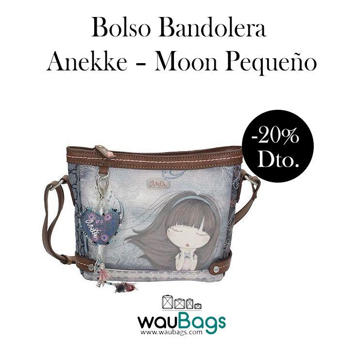 """Sigue disfrutando de nuestras ofertas y consigue el Bolso Bandolera Anekke de la colección """"Moon"""", ahora por tan solo 29,52€!!  Dispone de amplio compartimento principal con cremallera, varios bolsillos interiores y un bolsillo exterior en la parte trasera, también con cierre de cremallera.  Con correa regulable para llevar el bolso colgado al hombro o bien en bandolera.  @waubags #anekke #bolso #bandolera #complementos #oferta #descuento #rebajas #waubags"""